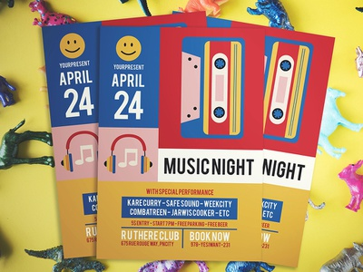 MUSIC NIGHT FLYER colorful indie music template vector flyer flyer design design ykzr illustration