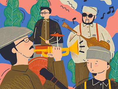 Sore Band summer people blue favorite sore music procreate illustration band