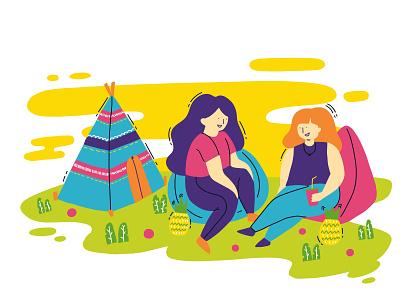 Bean Bag hangtags drawing design procreate people girl ykzr illustration