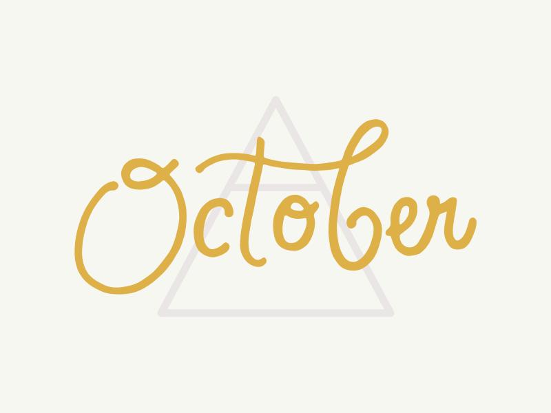 October lavender gold illustration october hand-lettering