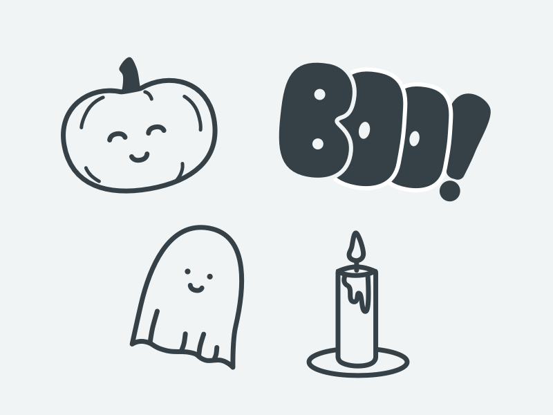 Spooky illustration pumpkin ghost sketch icons halloween