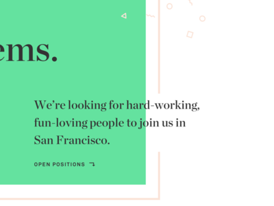 Color Block hiring pink green confetti layers typography twine