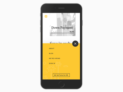 Twine Landing Mobile Navigation menu iphone app app store palm trees yellow navigation mobile twine