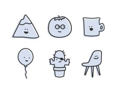 Twine Avatars chair mountain mug tomato cactus balloon illustration faces avatars