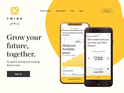 Twine.com Update sign up iphone x iphone app saving investing landing twine