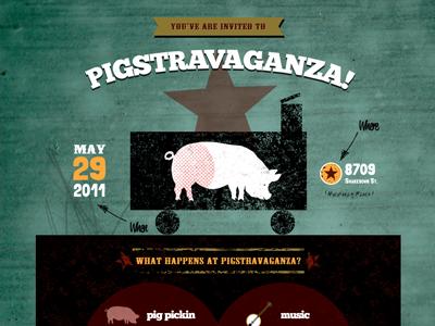 Pigstravaganza - Woah Alternate Green Background! pigstravaganza swine dining high on the hog pig pickin bacon