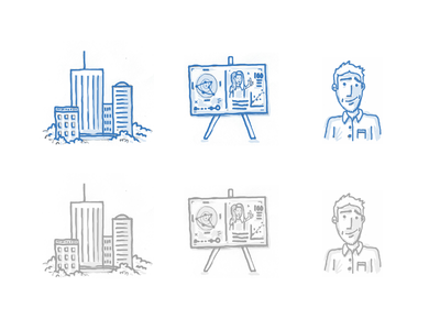 Some Icons - blue/greyscale illustration icon buildings clouds presentation person hand drawn