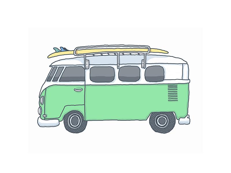 Green Bus illustration icon volkswagon bus surf board hand drawn