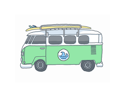 Green Bus (with wave) illustration icon volkswagon bus surf board hand drawn