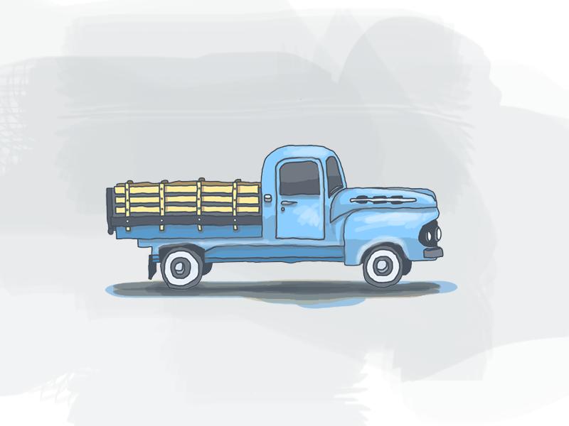 Vintage Tuck illustration icon truck hand drawn