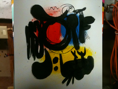 Painting In Studio 02 painting reminds me of miro paper sumi ink primary colors