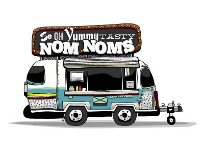 Nom Nom Wagon food truck air stream trailor illustration ketchup  mustard nom noms
