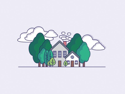 House In Trees illustration landscape clouds trees house