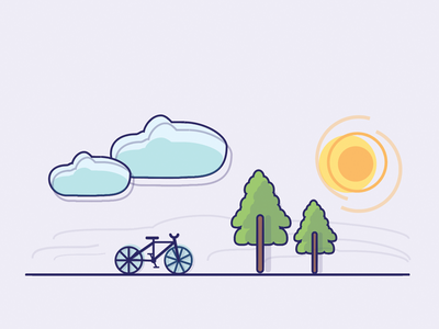 Bicycle To The Woods illustration sun trees woods bicycle clouds