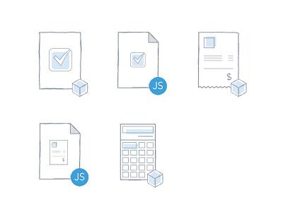 Eligible Product Icons calculator receipt invoice api document icons illustration