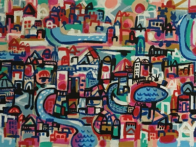 A Colorful City art buildings water city painting