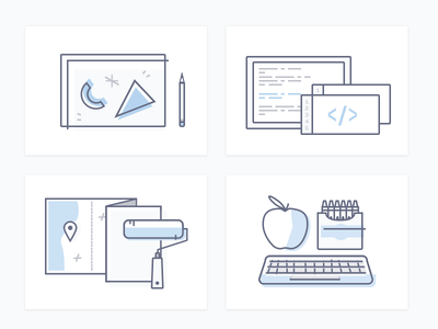 04 Tile Icons icons creative direction mentorship keyboard crayons apple paint roller map code pencil illustration