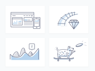 04 Tile Icons (b) friendship frisbee skateboard dog illustration icon chart gem data visualization ruby on rails user interface