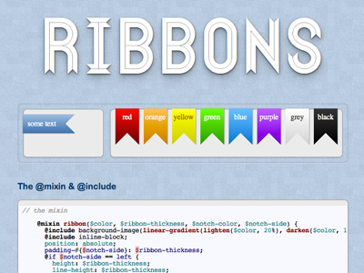 Ribbons sinatra compass scss mixins github gist open source love flag ribbon rainbow toy website