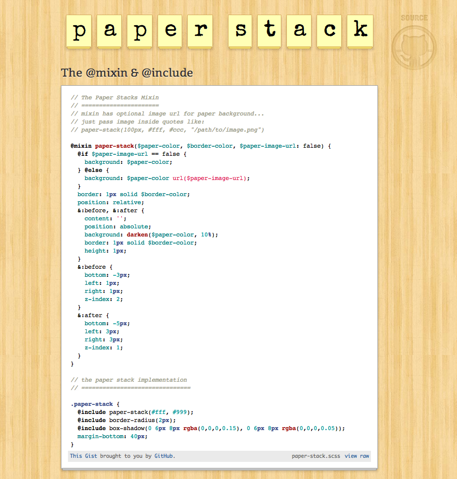 A paper stack compass scss mixin