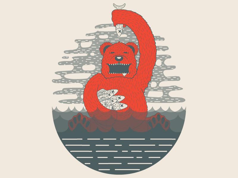 Fish Dinner nature wild tshirt design tshirt fish bear illustrator illustration designer design artist art