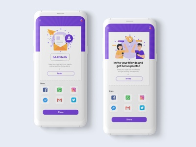 Refer/Invite a friend 🤝 refer refer a friend invite design invite share mobile application design mobile mobile ui ux ui