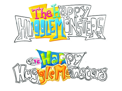 Happy HuggleMonsters Concept Sketches process typography concept disney lettering sketch