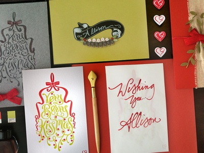 2014 Holiday Cards letterpress lettering mistletoe greeting cards sketch process