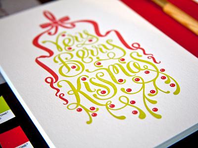 Letterpress Holiday Cards letterpress lettering mistletoe greeting cards process