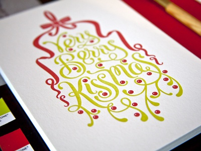 Letterpress Holiday Cards letterpress lettering mistletoe greeting cards process