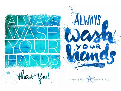Restroom Signs watercolor splatter ink script brush lettering