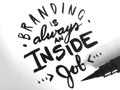 Inside Job ink script brush lettering