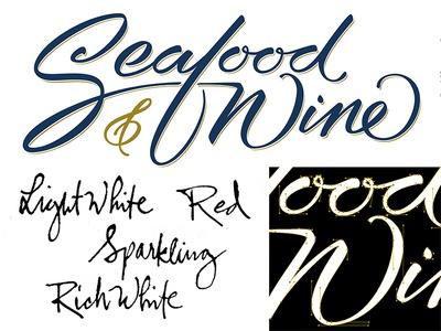 Seafood & Wine process vector wine seafood ink script brush lettering