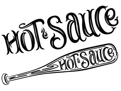 Hot Sauce baseball softball hot sauce ink script brush lettering