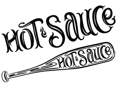 Hot Sauce baseball softball hot sauce ink script brush lettering