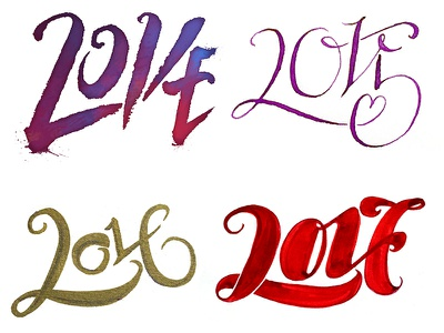 New Years Love pointed pen brushwork lettering ambigram