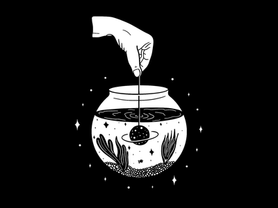 Fishbowl Universe ipad pro ipad pro art procreate procreate app digitalart visualtimmy black and white illustration black and white black  white illustration art illustrator illustration
