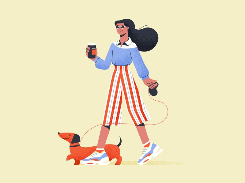 Character Illustrations shakuro girl character character design girl illustrator graphic design art design dog woman walking vector flat character illustration