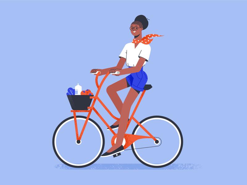 A Girl on a Bike shakuro graphic design bike ride bike illustrator flat design art girl illustration girl character design girl character vector illustration