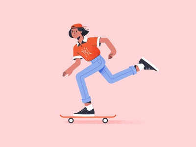A Skateboarding Girl shakuro clean skater woman graphic design flat art vector skateboard skate design illustrator character design character girl illustration girl character girl illustration