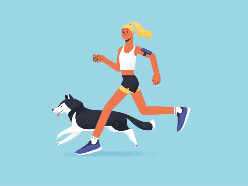 A Running Girl shakuro art husky design fitness sport run flat dog girl illustration girl character character design character girl running runner vector illustration