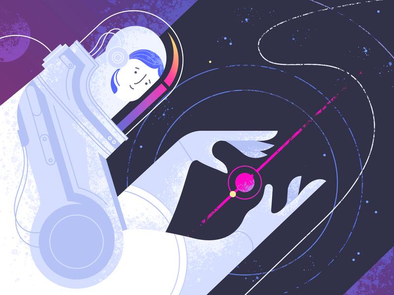 Astronaut shakuro shape illustrator spacesuit flight cosmonaut planet flat character stars planets galaxy woman space digital astronomy astronaut vector illustration