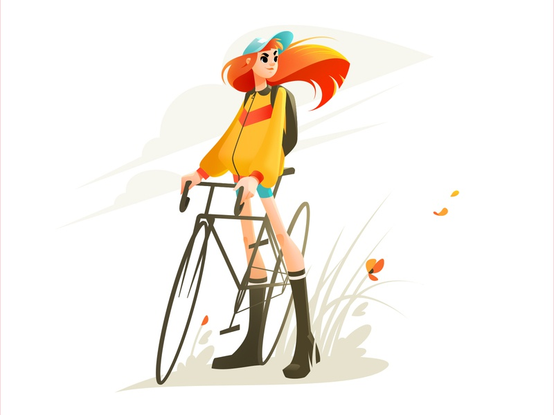 Girl on a Bike Illustration bicycle cycling design flat graphic character design art summer spring girl illustration illustration art illustrator girl character bike shakuro character vector illustration