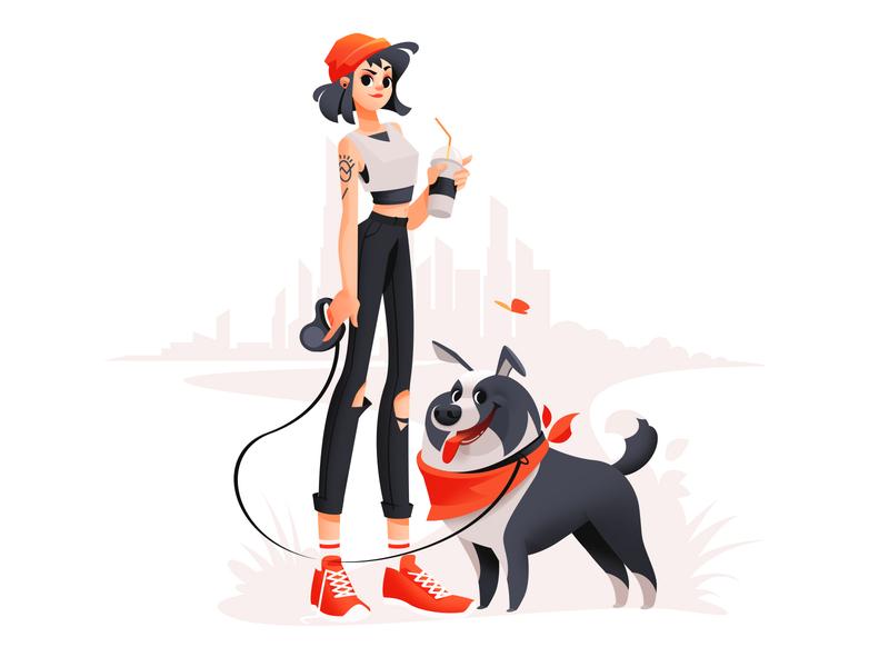 Walking A Dog digitalart city drawing colorful woman dog walking walking animal walk illustrator design girl dog shakuro character vector art illustration