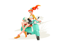 Super Bike Girl girl illustration summer motorcycle rider motor drive girl character girl bike illustrator character shakuro vector design art illustration