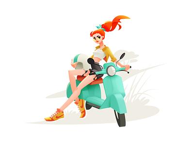 Super Bike Girl girl illustration summer motorcycle rider motor drive girl character girl bike illustrator character shakuro vector design art illustration