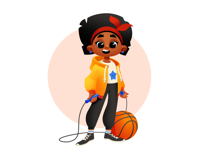 A Girl Who Loves Sports and Activities children child illustration illustration art sport character design kid child basketball activities sports girl illustration girl character girl illustrator shakuro character vector design art illustration