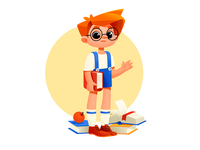 A Boy With Books design books shakuro character vector illustration art art illustration illustrator boy character boy illustration boy childrens illustration children child educational illustration education cute illustration cute
