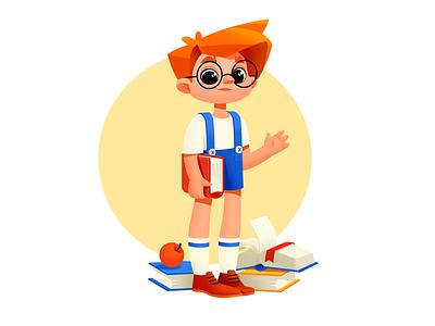 A Boy With Books design books shakuro character vector illustration art art illustration illustrator boy character boy illustration boy childrens illustration children child educational illustration education cute illustration cute