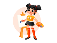 A Girl Who Loves Painting illustration art girl character character design girl girl illustration child illustration children activities cute art cute illustrator kids kid child paint shakuro character design art illustration